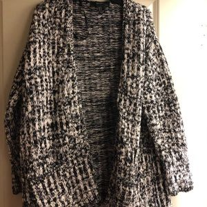 Forever 21 Black and White Knit Cardigan
